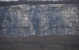 Upper Mississippi River bluffs in winter