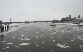 The icy Mississippi River from the Stan Span