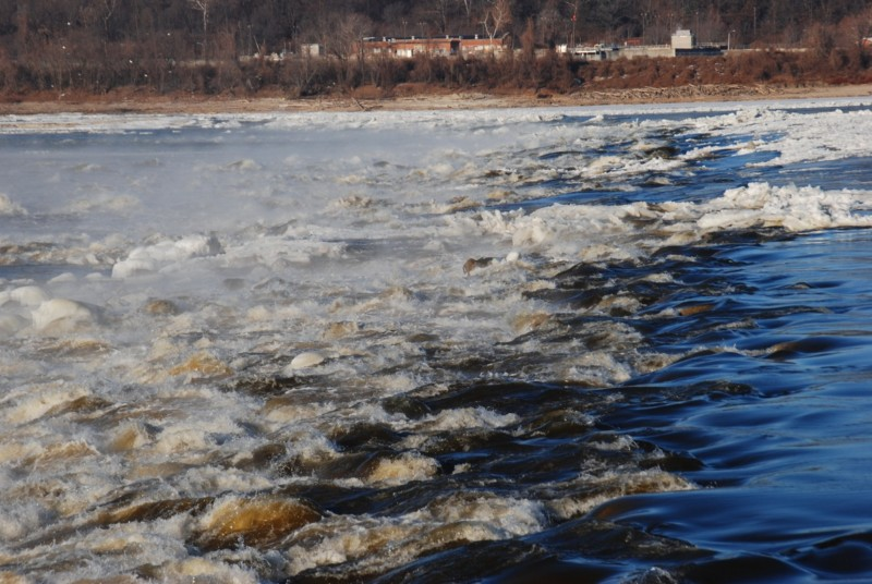 Steam and ice surround the Chain of Rocks rapids on the Mississippi River above St. Louis